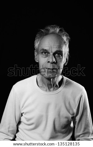Black and white image of old man