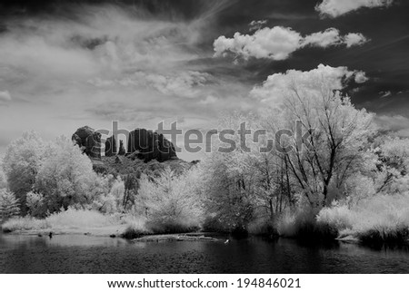 Black and white image of Sedona Arizona - stock photo