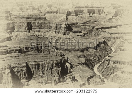 Black and white image of the Grand Canyon, Arizona, USA. The Grand Canyon is a steep-sided canyon carved by the Colorado River in the United States in the state of Arizona. - stock photo
