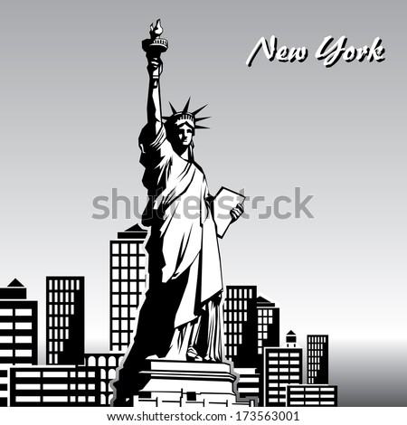 black and white image of the Statue of Liberty in New York