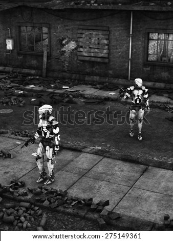 Black and white image of two futuristic robots holding guns, fighting a war in a ruined city. - stock photo