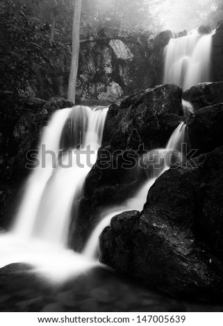 Black and white image  of Upper Doyle's River Falls on a spring day in Shenandoah National Park, Virginia. - stock photo