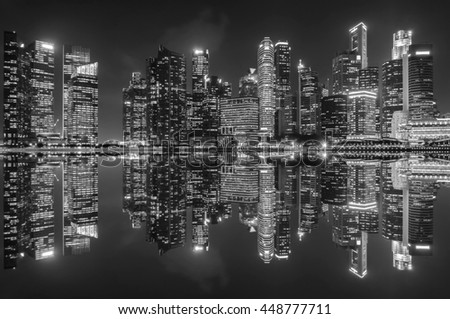 Black and white images of skyscrapers and reflections in the city.