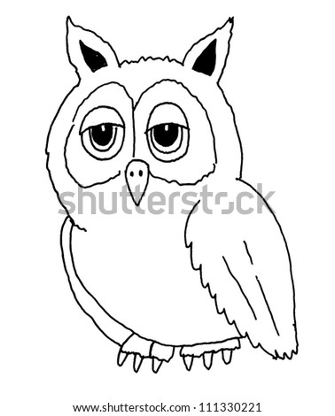 Black and white ink illustration of owl