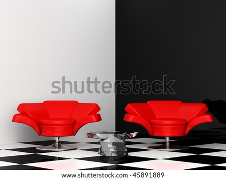 black-and-white interior with two red armchair 3d - stock photo