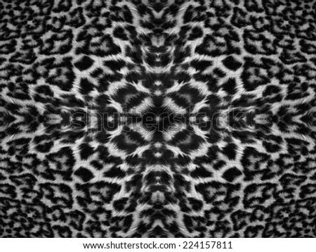 Black and white kaleidoscope leopard fur pattern - stock photo