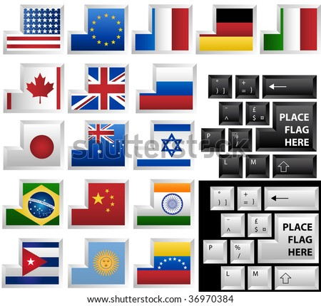 Black and White keyboards with 17 different keys as flags