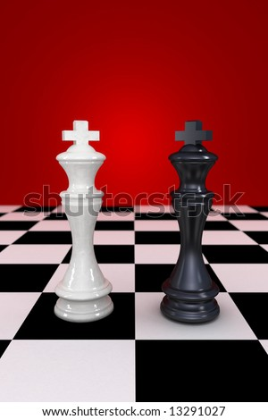 Black and white king facing each other - stock photo
