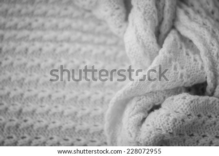 black and white knitted background - stock photo
