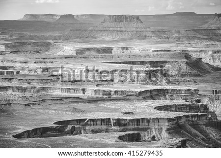 Black and white landscape in Canyonlands National Park, Island in the Sky region, Utah, USA.