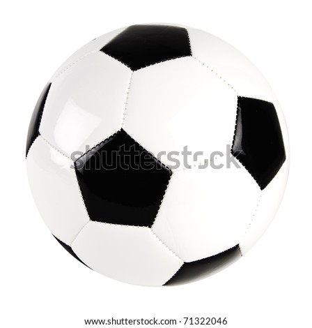 black and white leather soccer ball isolated on the white background - stock photo
