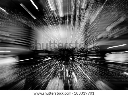 black and white lights blur zoom abstract background - stock photo