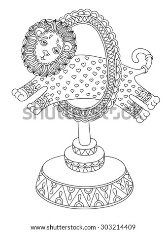 black and white line art illustration of circus theme - a lion jumps through a ring, you can use like coloring book for adults, raster version illustration - stock photo