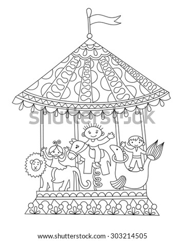 black and white line art illustration of circus theme merry-go-around,  you can use like coloring book for adults, raster version illustration - stock photo