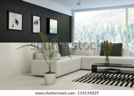 Black and white living room with comfortable couch - stock photo