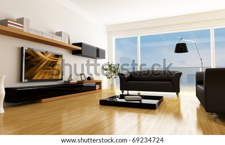 black and white living room with lcd tv -the art picture on screen is a my composition - stock photo