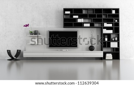 Black White Living Room Tv Stand Stock Illustration 112639304