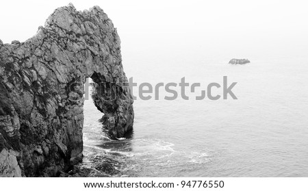 Black and White Lulworth Cove, Durdle Door, Coastal Rock Arch Abstract - stock photo