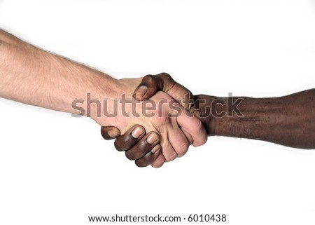 black and white male shaking hands