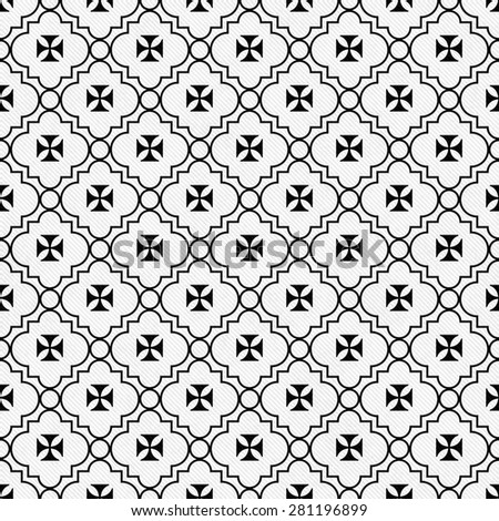 Black and White Maltese Cross Symbol Tile Pattern Repeat Background that is seamless and repeats - stock photo