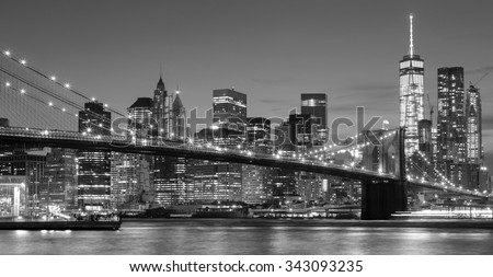 Black and white Manhattan waterfront at night, New York City, USA. - stock photo