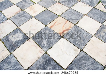Black and white marble floor pattern  - stock photo