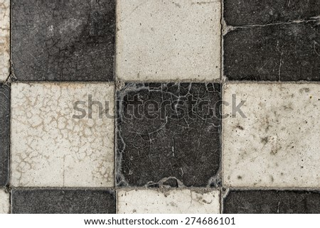 Black and white marble tiles - stock photo