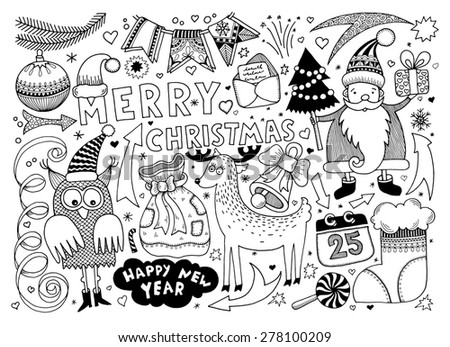 black and white merry christmas and happy new year set for your greeting card design, raster version - stock photo
