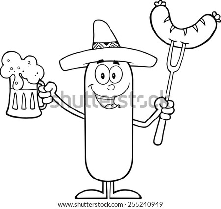 Black And White Mexican Sausage Cartoon Character Holding A Beer And Weenie On A Fork. Raster Illustration Isolated On White - stock photo