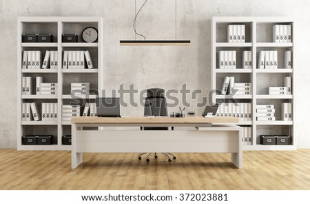 Black and white minimalist office with desk and bookcase - 3D Rendering - stock photo