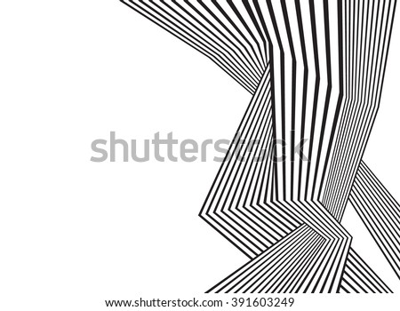 black and white mobious wave stripe optical abstract design - stock photo