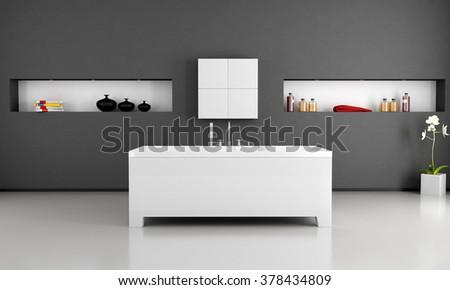 black and white modern bathroom with minimalist bathtub - 3D Rendering - stock photo