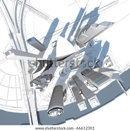 black and white modern city in top view - stock photo
