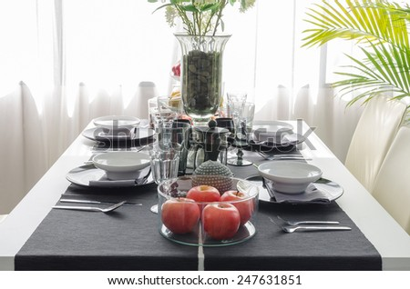black and white modern dinning table at home
