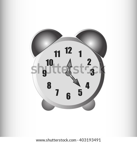 Black and white monochrome alarm clock. A simple technical device.