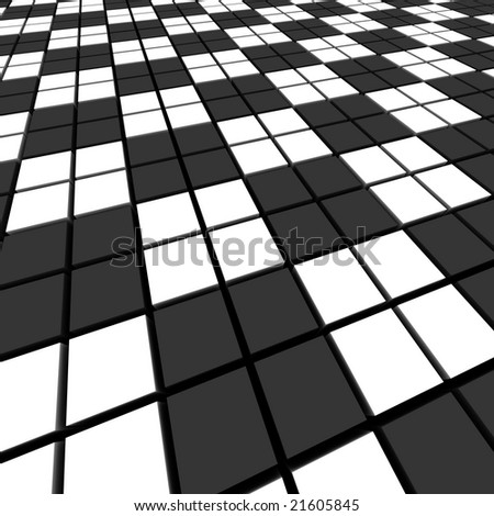 Black and white mosaic abstract background.  3d rendered image.
