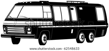 Black and White Motor Home, Camper, RV Illustration - stock photo