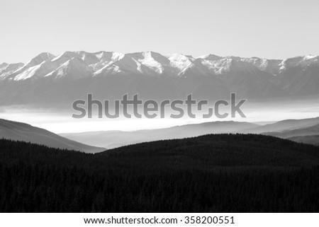 black and white mountain background, Pirin mountain in Bulgaria panoramic view  - stock photo