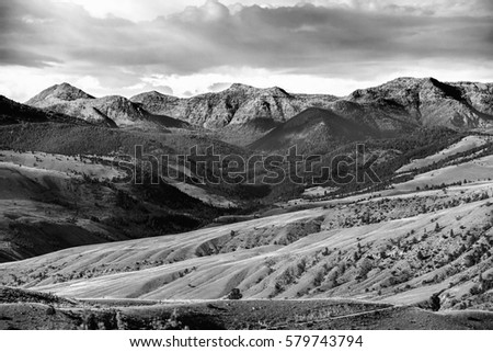 Black and white mountain landscape photograph yellowstone national park wyoming usa