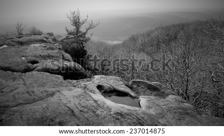 black and white mountain overlook