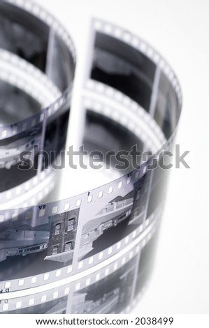 Black and white negative film - stock photo