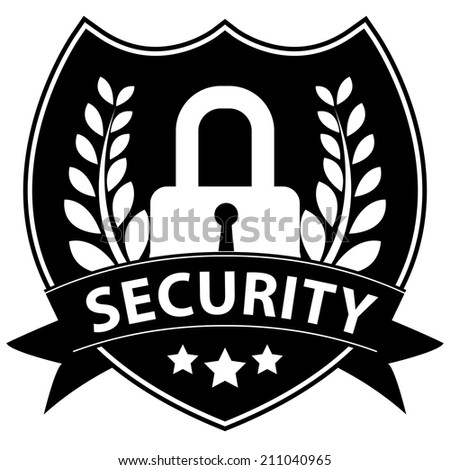 Black and White Network Security, Privacy or Top Secret Concept Present By Lock Shield Icon With Security Ribbon Isolated on White Background  - stock photo