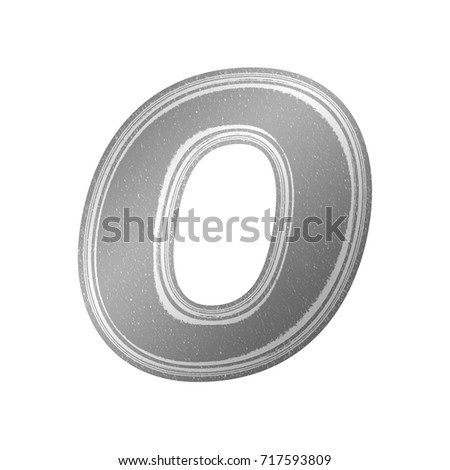 Black and white newsprint style uppercase or capital letter O in a an illustration with a gray newspaper effect and paper texture basic bold font isolated on a white background with clipping path.