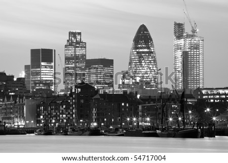 Black and white night shot of the city of London - stock photo