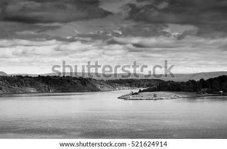 Black and white norway islands landscape background