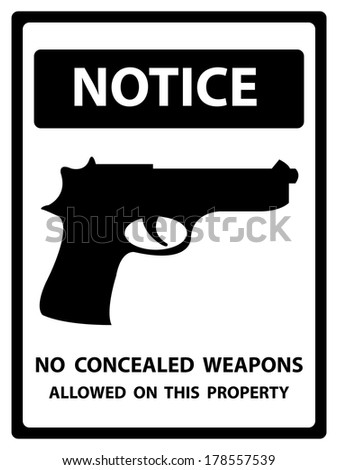 Black and White Notice Plate For Safety Present By No Concealed Weapons Allowed on This Property With Gun Sign Isolated on White Background  - stock photo