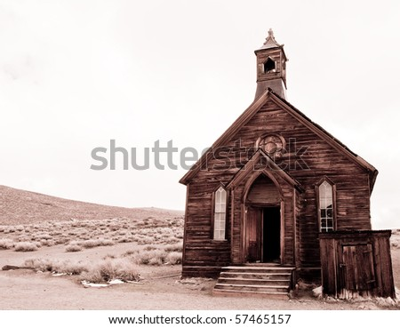 black and white of abandoned church in bodie, ca ghost town - stock photo