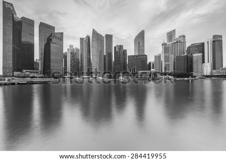 Black and white of Cityscape at Marina Bay Business District, Singapore - stock photo