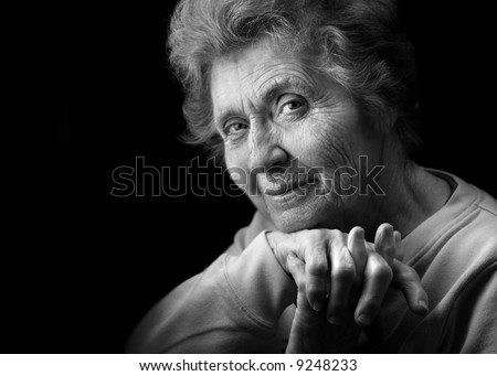 Black and white of Great-grandmother - stock photo