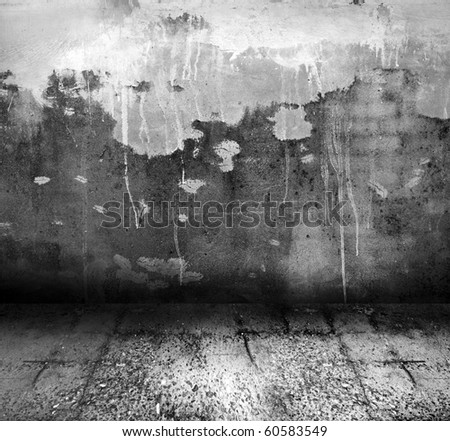 Black and white old grunge room - stock photo